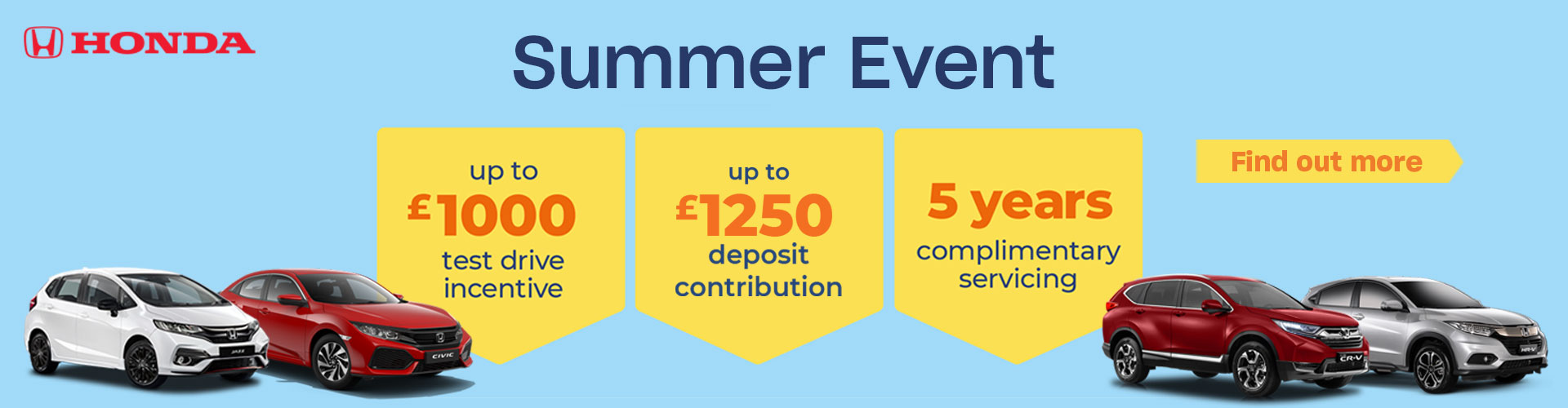 Summer Event - Up to £1000 test drive incentive, 5 years complimentary servicing.