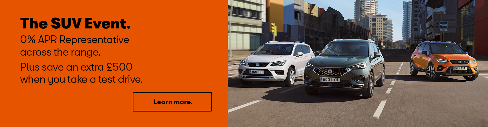 The SUV Event - 0% APR Representative across the range, plus save an extra £500 when you take a test drive